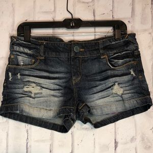 C Pink Distressed Jean Shorts